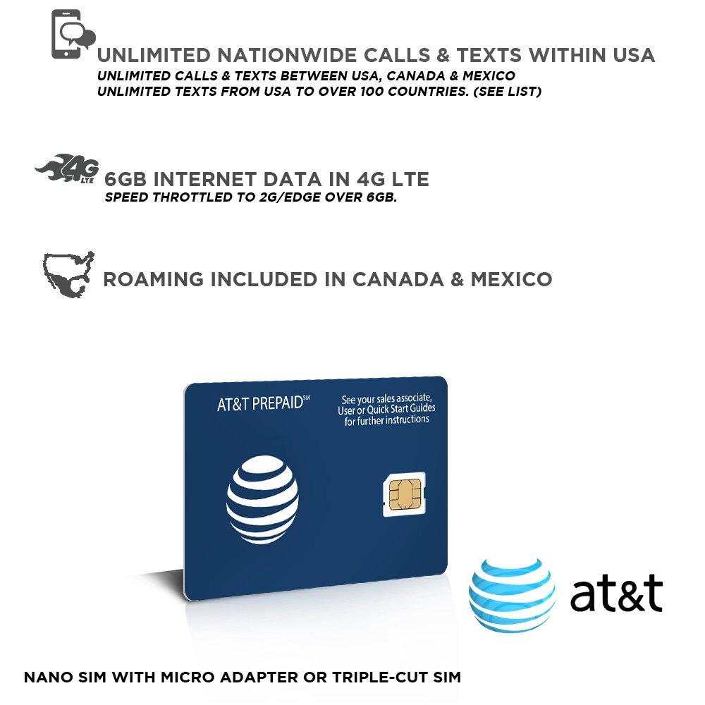 SIM prepago EEUU, Canadá & Méjico Red AT&T - 6GB 4G LTE - llamadas y mensajes de texto ilimitadas - 30 días