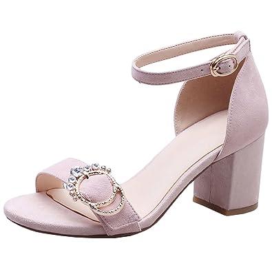 394d9e3b9deb Atyche Damen Riemchen High Heels Sandalen mit Schnalle und Strass  Blockabsatz Pumps Elegante Schuhe