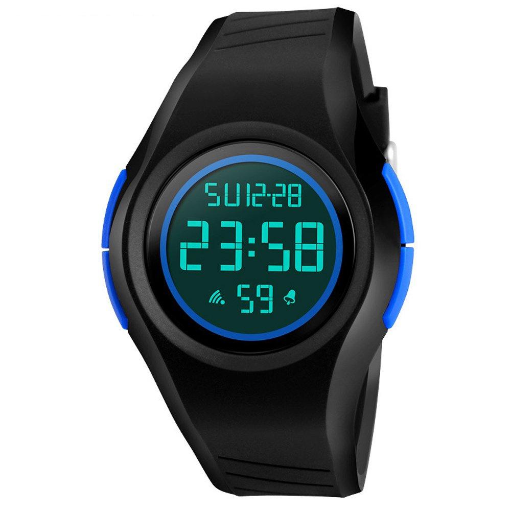 Reloj digital para hombre o niño COOLANS: lujoso reloj deportivo resistente al agua con un sencillo diseño de moda, Led para bucear, analógico y digital con esfera redonda electrónica con luz.