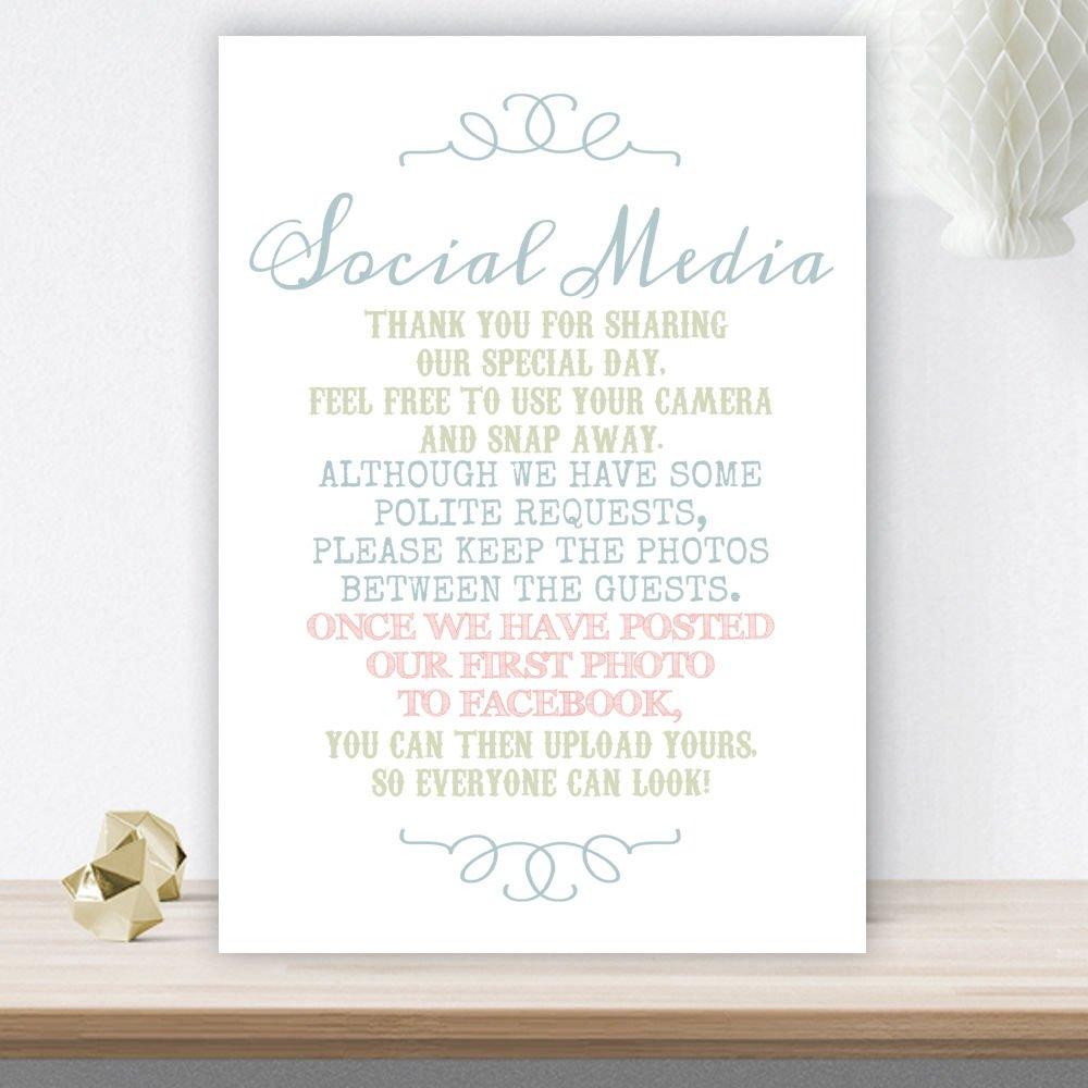 Pastel Coloured No Photos On Social Media Wedding Poem on A4 White ...