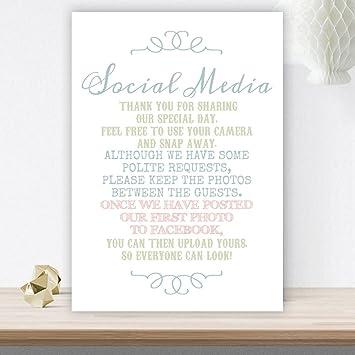 Pastel Coloured No Photos On Social Media Wedding Poem A4 White Card C28