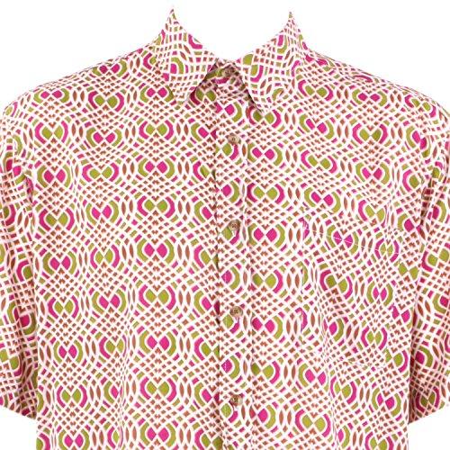 Loud Originals Regular Fit Hemd mit kurzen Ärmeln - Pink & grün abstrakt