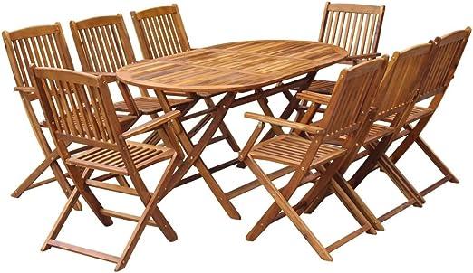 Festnight Juego de Muebles para Exterior Jardín Terraza o Patio, con 9 Piezas Apilable, Madera Maciza de Acacia, Marrón: Amazon.es: Jardín