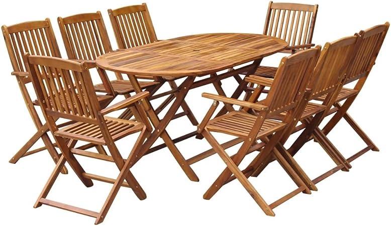 Tidyard 9 pcs Mobilier de Jardin Pliable en Bois d\'acacia avec 1 Table et 8  Chaises avec Accoudoirs
