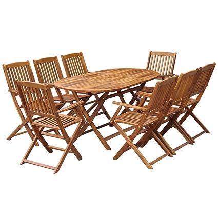 Festnight 9 pcs Salon de Jardin en Bois d\'acacia Massif 1 Table Ovale  Pliable et 8 Chaises Pliables