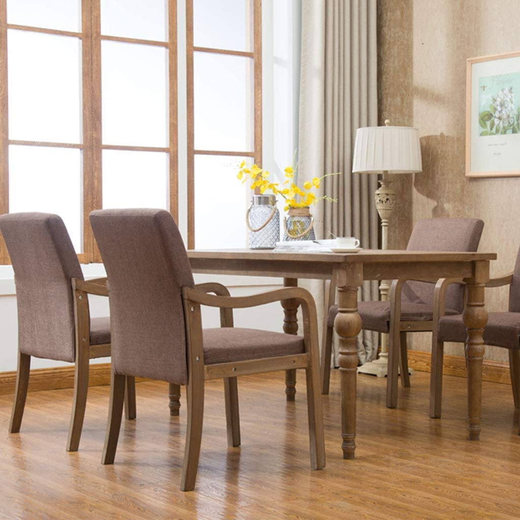 HTL Desk Chairs Dining Chairs with Arm for Living Room/Side Dining Chairs with Walnut Wood Legs Kitchen/Mid-Century Leatherette Dining Room Bedroom Leisure Accent Chair,Gray Brown