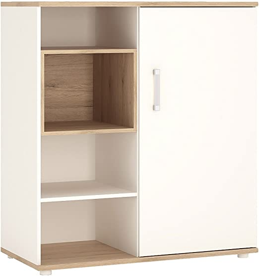 Furniture To go 4 Kids Armario bajo con estantes Puerta Corredera, Madera, Blanco Brillante, Color Roble: Amazon.es: Hogar