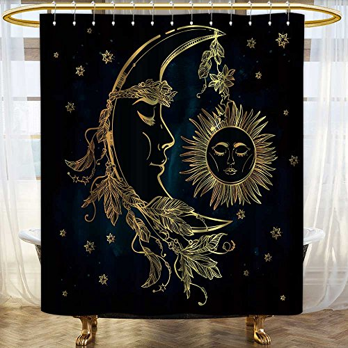 (Printsonne Bath Curtain Water Repellent Mold Hand drawn crescent moon with feathers and in the crown of leaves and sticks Sleeping for Home or Hotel Decoration Mildew Resistant for Bathroom/W66 x L72)