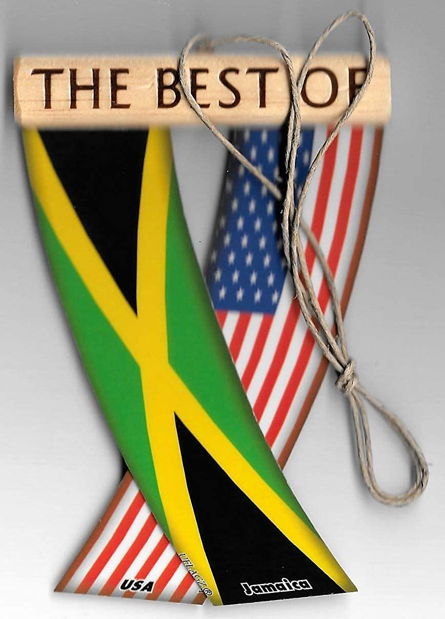 JAMAICA AND USA JAMAICAN AMERICAN CARIBBEAN FLAG REAR VIEW MIRROR HANGING CAR FLAGS MINI BANNERS FOR INSIDE THE CAR UNITY FLAGZ™