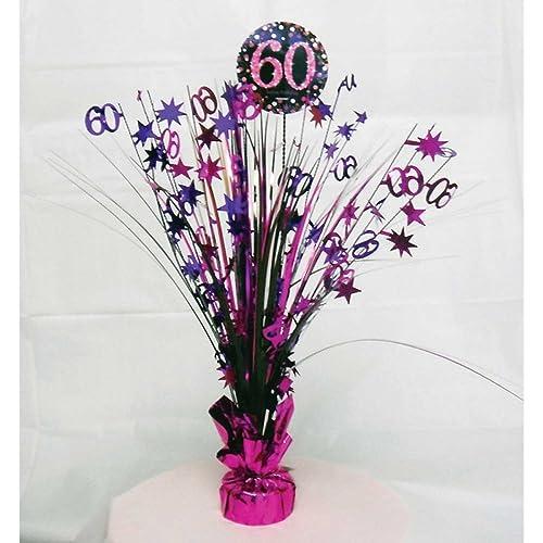 60th Birthday Spray Centrepiece Table Decoration Black Pink Purple
