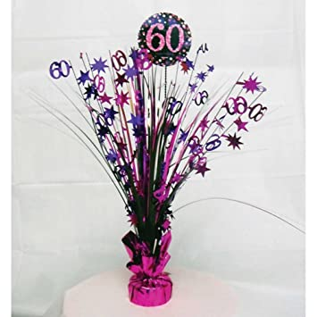 60th Birthday Spray Centrepiece Table Decoration Black Pink Purple