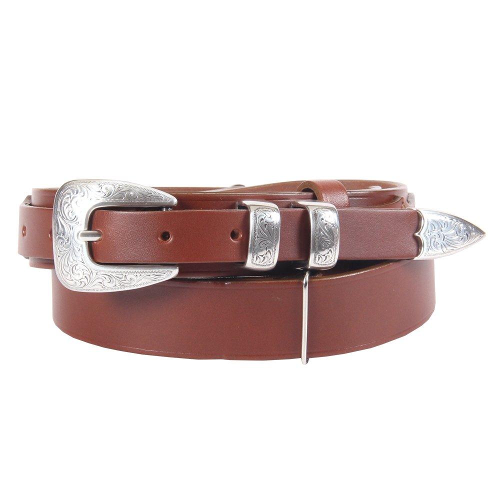 Brown Leather Mens Ranger Belt Adjustable No. 2 Nickel Buckle Italian Bridle Leather Large USA Made Unique Design by Col. Littleton (Image #1)