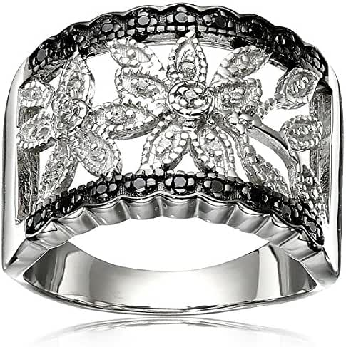 Sterling Silver Black and White Diamond Ring (1/10cttw, I-J Color, I2-I3 Clarity), Size 7