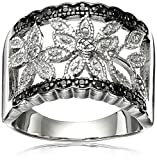 (US) Sterling Silver Black and White Diamond Ring (1/10cttw, I-J Color, I2-I3 Clarity), Size 7