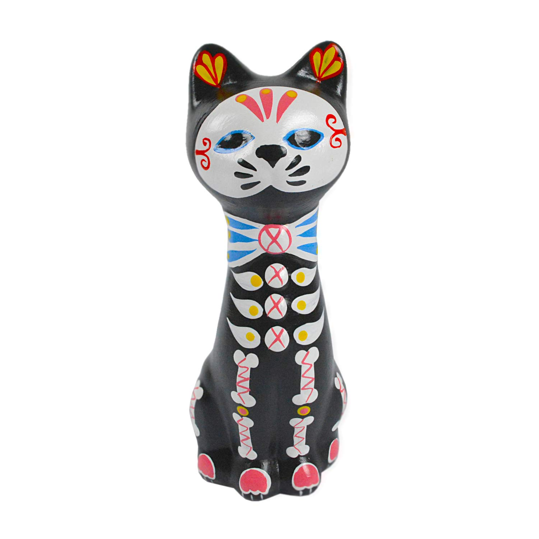 Kinnaree Dia De Los Muertos Painted Ceramic Cat Coin Bank, 8 Inch Black