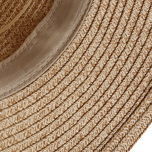 EINSKEY Womens Straw Sun Hat Bowknot Wide Brim Bucket Hat with Neck Cord for Summer Beach Fishing (Dark Beige) by EINSKEY (Image #6)