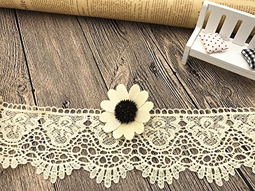 9CM Width Europe Crown pattern Inelastic Embroidery Lace Trim,Curtain Tablecloth Slipcover Bridal DIY Clothing/Accessories.(4 yards in one package) (Cream)