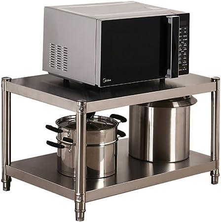 Scaffale per forno a microonde a 2 ripiani in acciaio inox per organizzare gli utensili da cucina