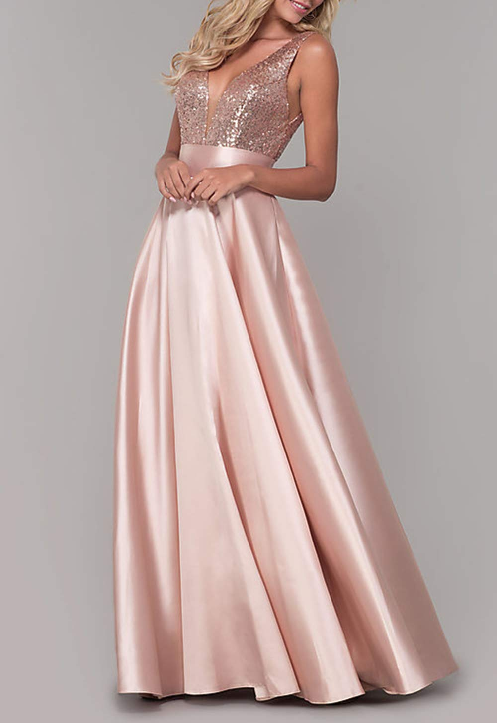 Women Halter Bridesmaid Dresses Long Formal Evening Ball Gown Prom Party Dress