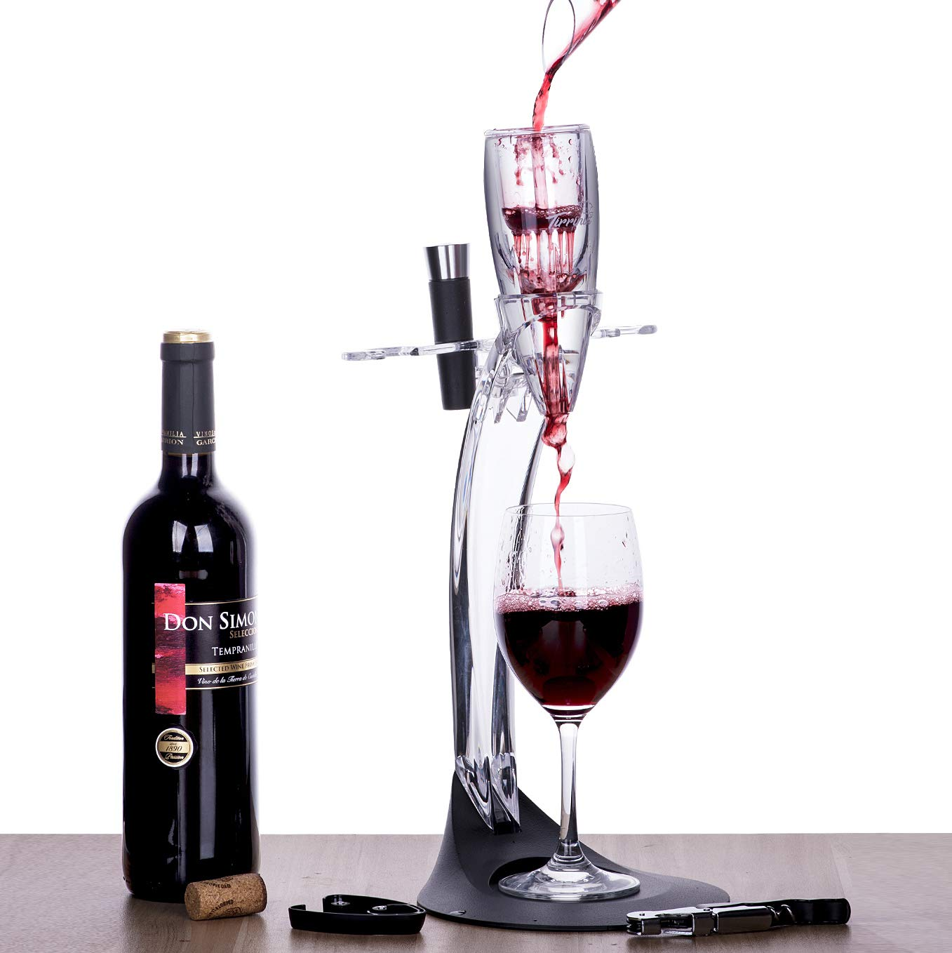 Tirrinia Wine Aerator Stand Set, Wine Accessories Tower Holder Kit, Includes Wine Decanter Aerator, Stopper, Opener, Pourer and Foil Cutter, Perfect Gift for Wine Lover by Tirrinia (Image #1)