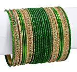1 Set of 24pcs Indian Ethnic Casual Party Wear Bridal Metal Bangles / Chudi Jewelry For Ladies (Green)