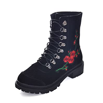 Rose Cowgirl Fashion Boots for Women Lace Winter Mid-calf Boots Non-slip Combat Womens Boots Shoes