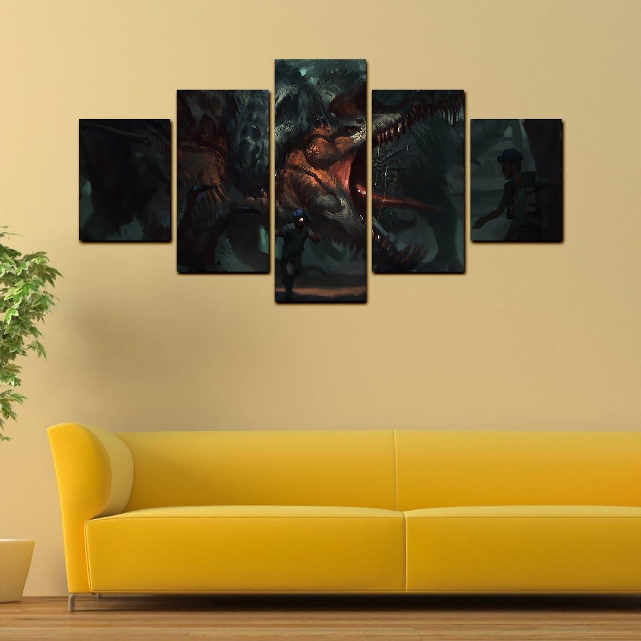 Amazon.com: Dinosaur Canvas Wall Decor - 5 Pieces Wall Art - Oil ...