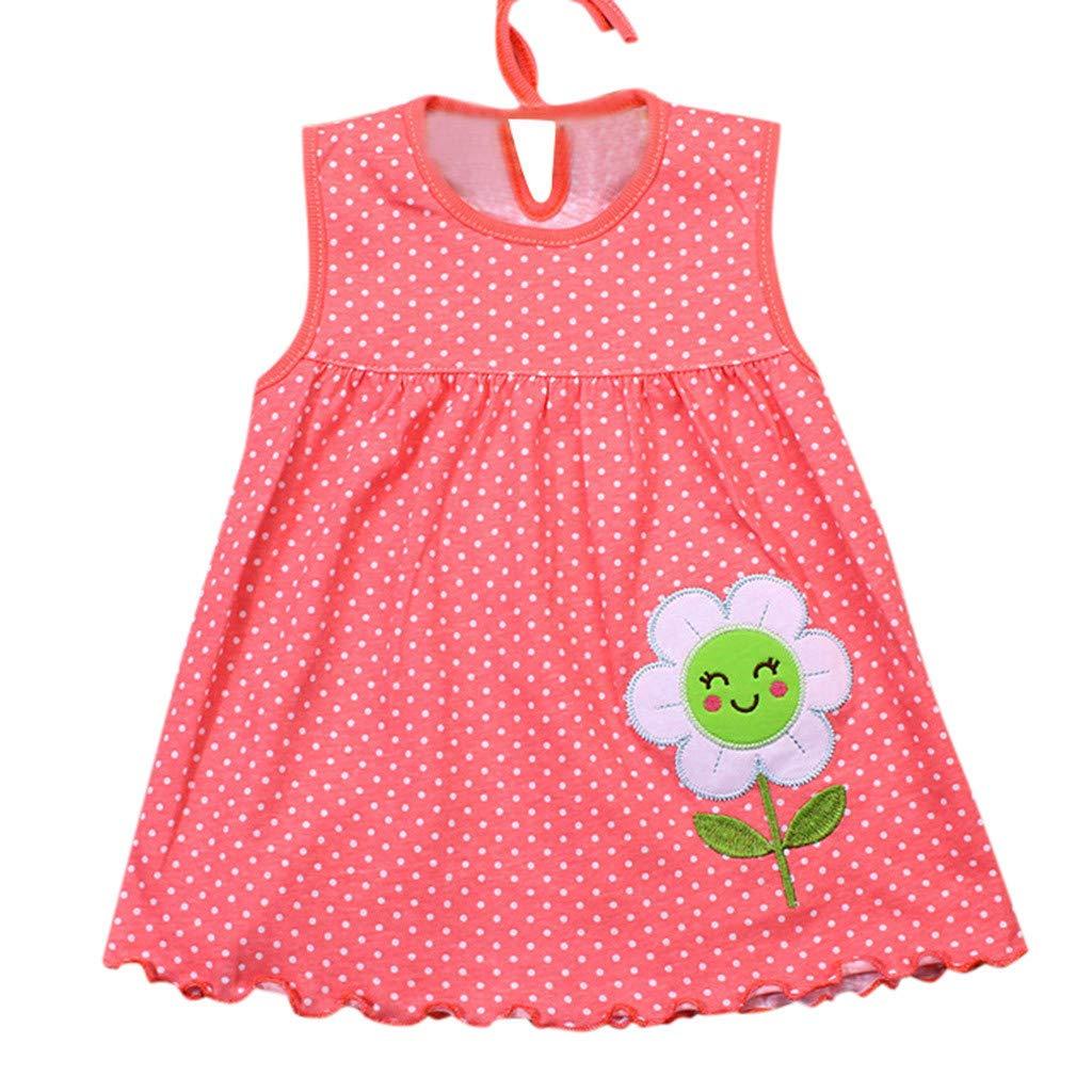 ❤️ Mealeaf ❤️ Girl Baby Infant Cartoon Flower Children Dot Floral Tees Dress T-Shirt Vest (B,Free Size)