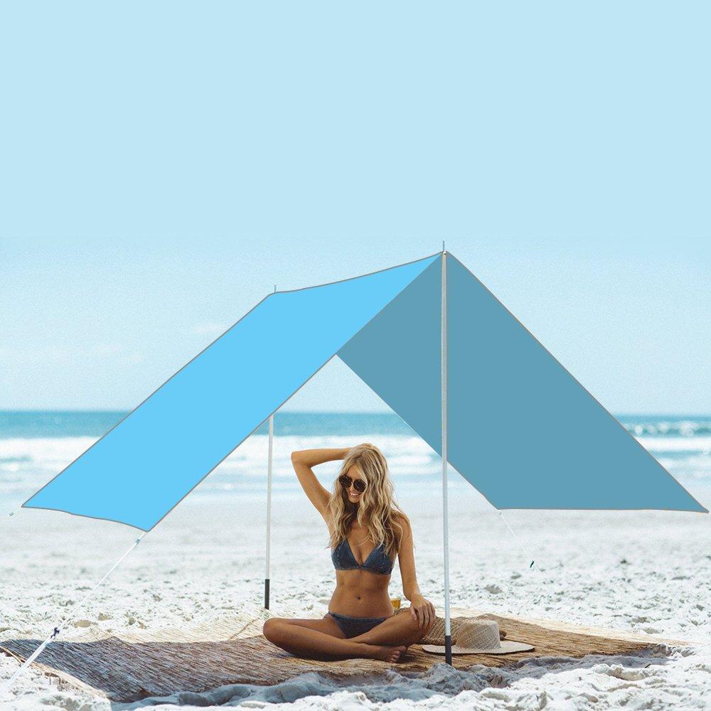 NATUREFUN Multifuncional 3x3m Impermeable Ante Lluvia para hamacaTienda de Camping Lona para Acampar al Aire Libre Refugio para la Playa toldo de Sol Mat Impermeable para Picnic