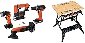 BLACK+DECKER BDCK502C1 GoPak 4-Tool Combo Kit with BLACK+DECKER WM425-A Portable Project Center and Vise