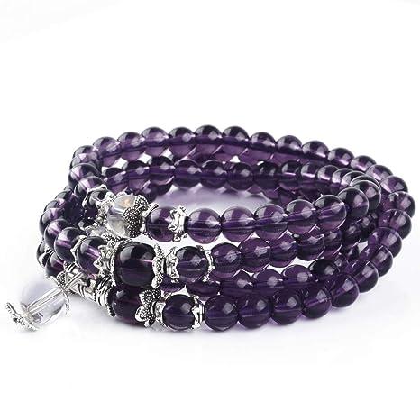 Distinct 6mm 108 Cuentas de oración Artificial Pulsera de Amatista Collar de Cristal púrpura - 1pc