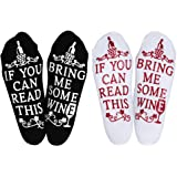 Wine Gifts for Women Men, Christmas Funny Gifts for Mom Dad Grandma, Birthday Gift Ideas, If You Can Read This Bring Me Some Wine Socks, Stocking Stuffers Wine Accessories and Gift Boxes (Two Pairs)
