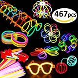 Toys : BUDI 200 Glow Sticks 467Pcs Glow Party Favors for Kids/Adults: 200 Glowsticks Party Packs 7 colors+ Connectors for Glow Necklace, Flower Balls, Luminous Glasses and Triple/Butterfly Bracelets