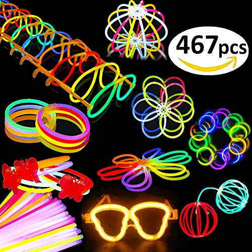 Time Party Favor Kit (BUDI 200 Glow Sticks 467Pcs Glow Party Favors for Kids/Adults: 200 Glowsticks Party Packs 7 colors+ Connectors for Glow Necklace, Flower Balls, Luminous Glasses and Triple/Butterfly Bracelets)
