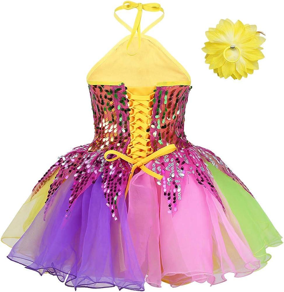 iEFiEL Kids Girls Shiny Sequined Halter Ballet Dance Layered Tutu Dress Stage Performance Leotard Dresses