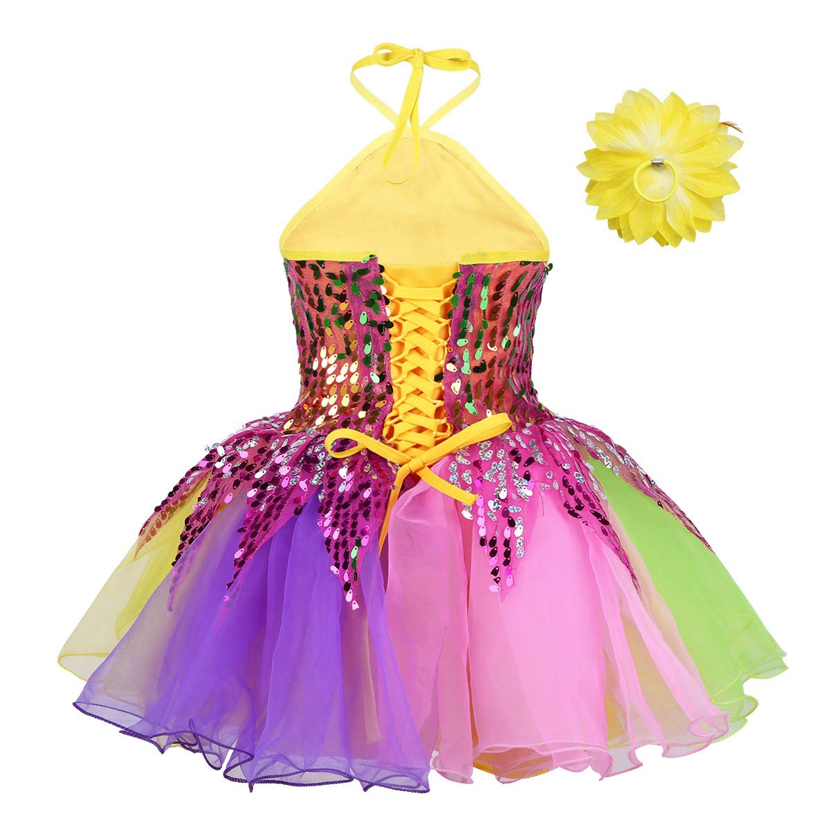 iEFiEL Kids Girls Shiny Sequined Pastel Mesh Tutu Dress Jazz Modern Dance Stage Performance Dancing Costumes Blue/&Rose Red 3-4 Years