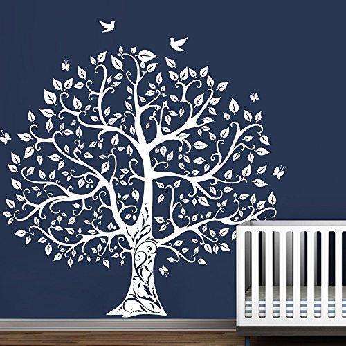 Tree Wall Decal with Birds Vinyl Natural Theme Wall Art Sticker Baby Nursery Decal Wall Decor (White, Medium)
