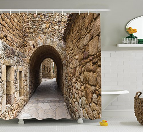 Ambesonne Apartment Decor Collection, Medieval Ancient Historic Street With Stone Walls in Pals Girona Catalonia Spain Picture, Polyester Fabric Bathroom Shower Curtain Set with Hooks, Beige by Ambesonne