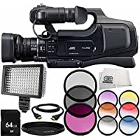 JVC JY-HM70 PAL HD Camcorder 8PC Accessory Bundle – Includes 64GB SD Memory Card + 3PC Filter Kit (UV + CPL + FLD) + 6PC Graduated Filter Kit + MORE
