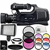 JVC JY-HM70 PAL HD Camcorder 8PC Accessory Bundle – Includes 64GB SD Memory Card + 3PC Filter Kit (UV + CPL + FLD) + 6PC Graduated Filter Kit + More -  SSE