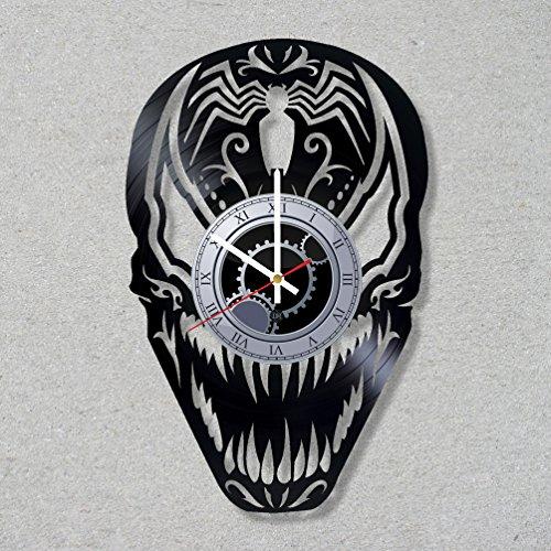 Vinyl Record Wall Clock Venom Superhero Sugar Skull Supervillain decor unique gift ideas for friends him her boys girls World Art Design … -