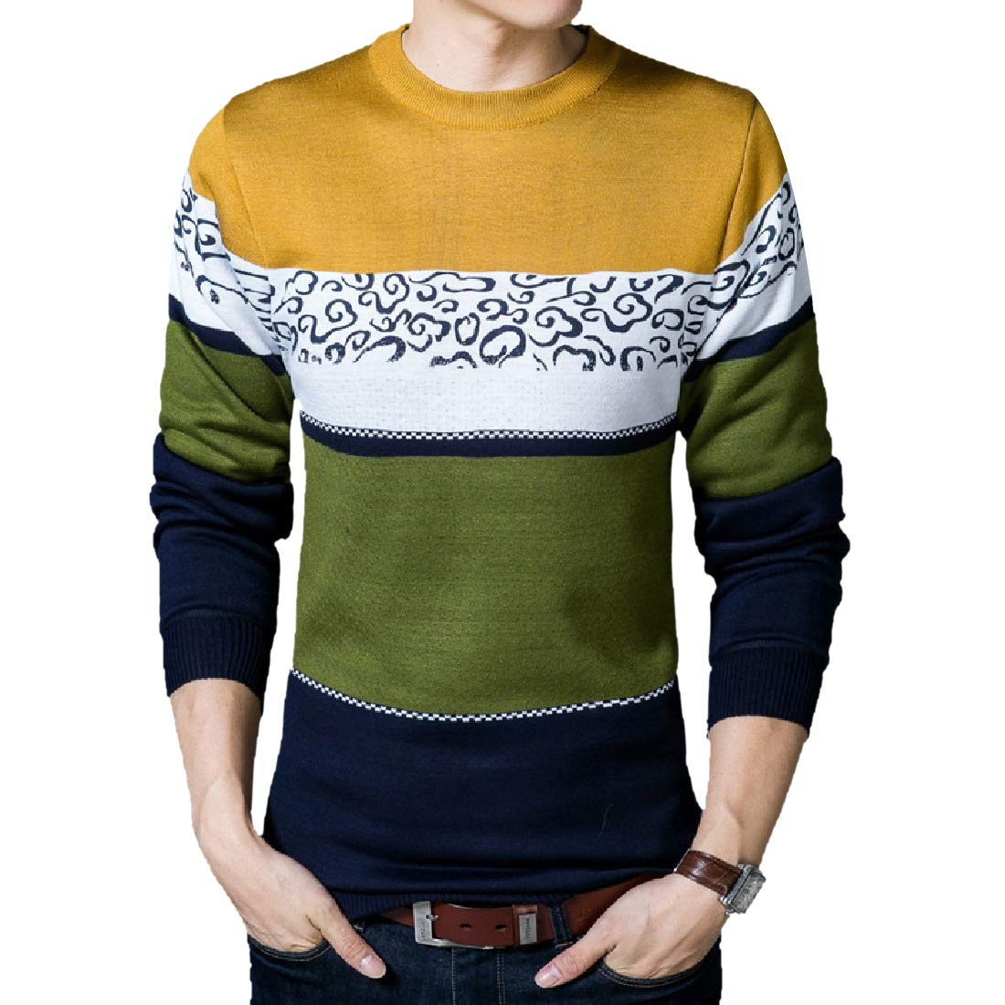 AngelSpace Mens Color Splice Thick Oversize Britain Top Pullover Sweater