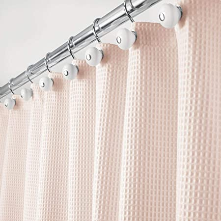 mDesign Extra Long Hotel Quality Polyester//Cotton Blend Fabric Shower Curtain,