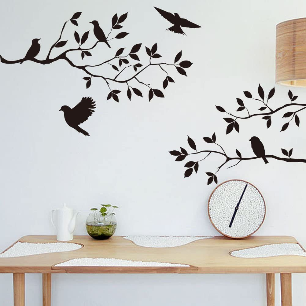 Gusuhome Birds Trees Wall Sticker,Tree Branches Wall Decal,DIY Removable Wall Art Decal Mural Peel and Stick Wallpaper for Bedroom, Farmhouse, Living Room and Decor,Black