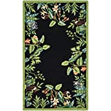 Cheap Safavieh Chelsea Collection HK295B Hand-Hooked Black and Green Premium Wool Area Rug (1'8″ x 2'6″)