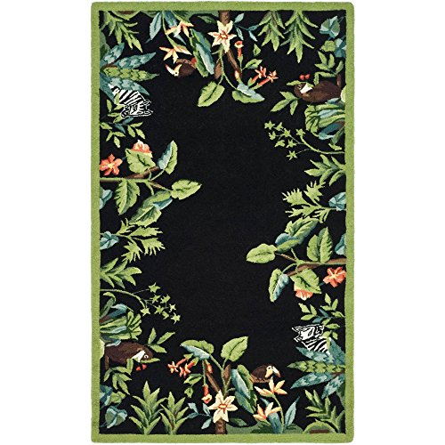 Accents Collection Hooked Rug (Safavieh Chelsea Collection HK295B Hand-Hooked Black and Green Premium Wool Area Rug (2'9