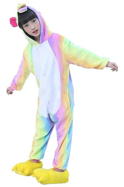Prettycos Infantil Unicornio Pijama Ropa de Dormir Unisex Disfraz Unicornio Cosplay Animales Pijamas para Ninos,