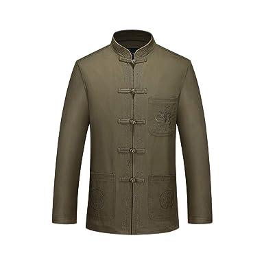da9ab0b7a0 Amazon.com  ZooBoo Tang Suit Kung Fu Jacket - Chinese Traditional Martial  Arts Uniforms Tai Chi Clothing Dragon Jacket for Men  Clothing