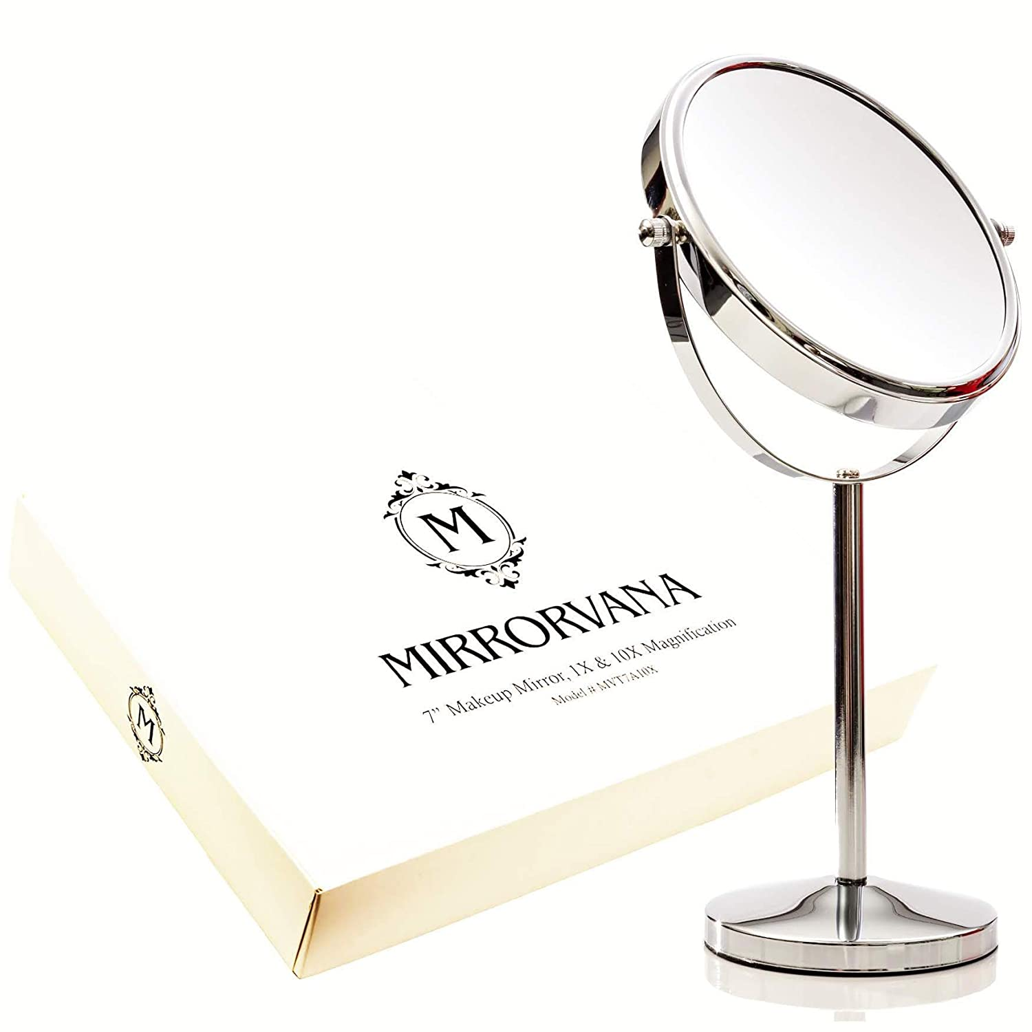 Mirrorvana 7-Inch Magnifying Makeup Mirror Double Sided Vanity Tabletop Mirror w 1x 10x Close Up Magnification