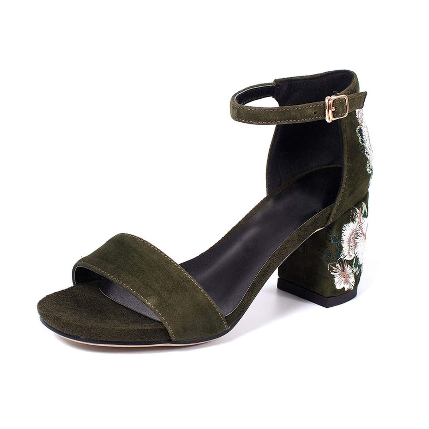 Army Green High Heel Sandals Real Leather Ankle Strap Thick Heel Print Sandals Elegant Vintage shoes